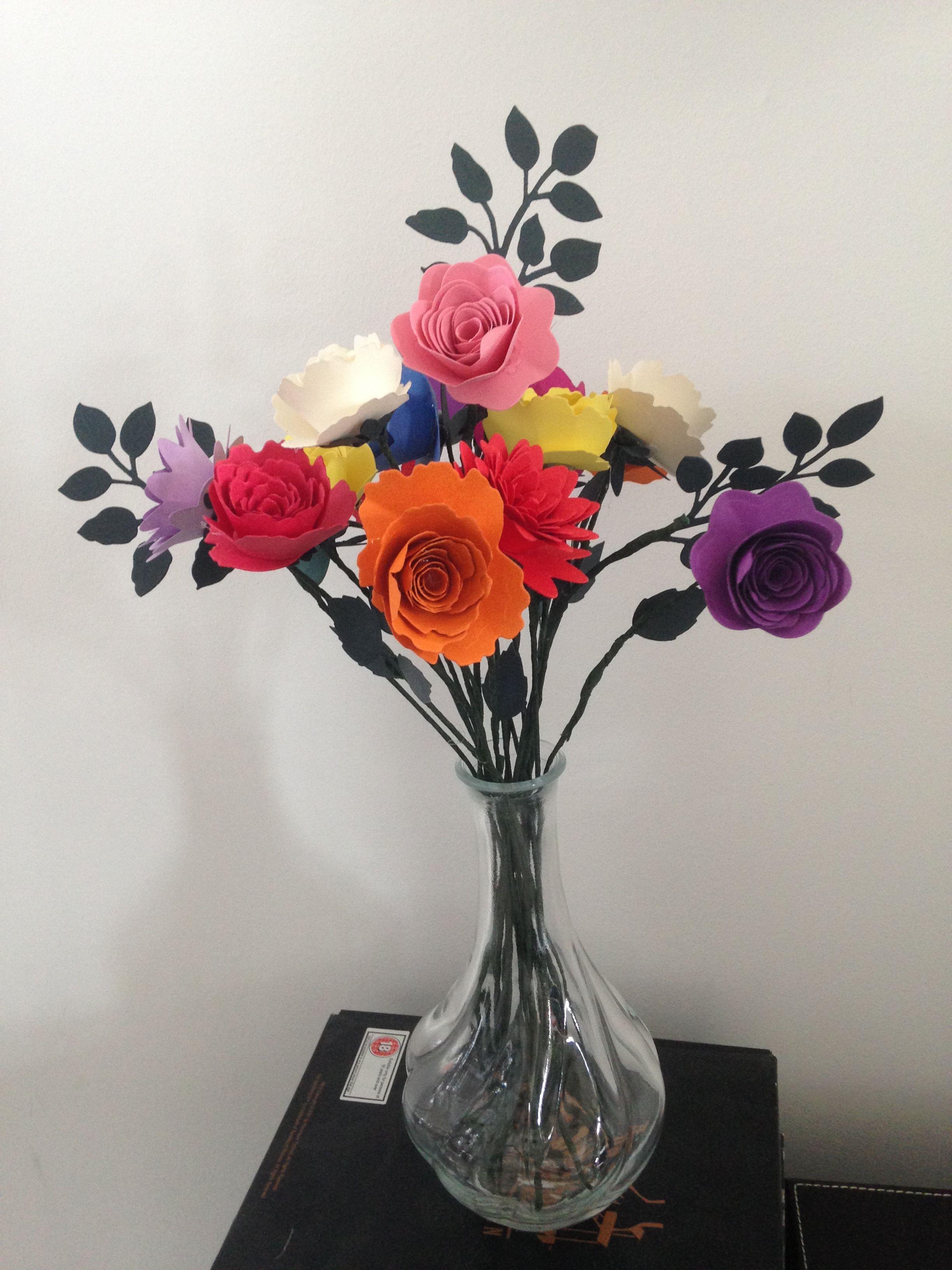 Mixed colour bunch of flowers  Handmade Paper flowers  Pinterest