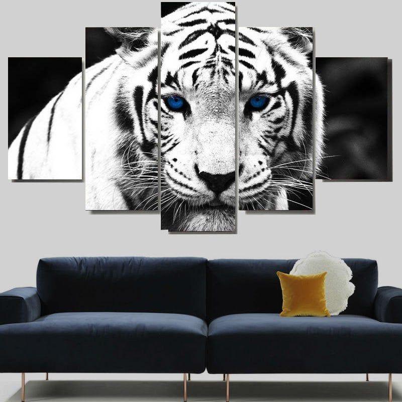 White Tiger Print Unframed Split Canvas Paintings Split Canvas Painting Canvas Wall Art Cheap Canvas Wall Art White tiger living room decor
