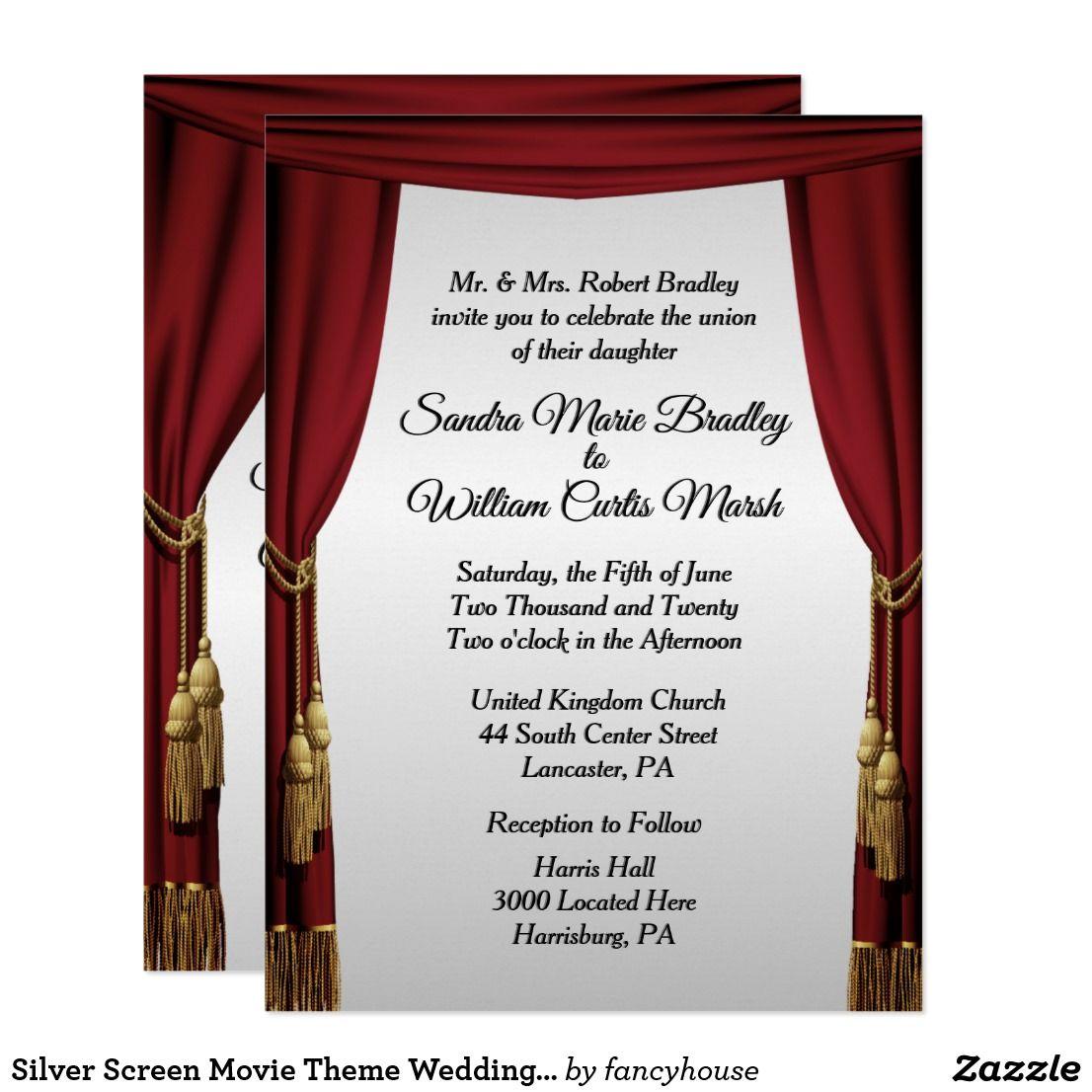 Silver Screen Movie Theme Wedding Invitation | Movie theme weddings