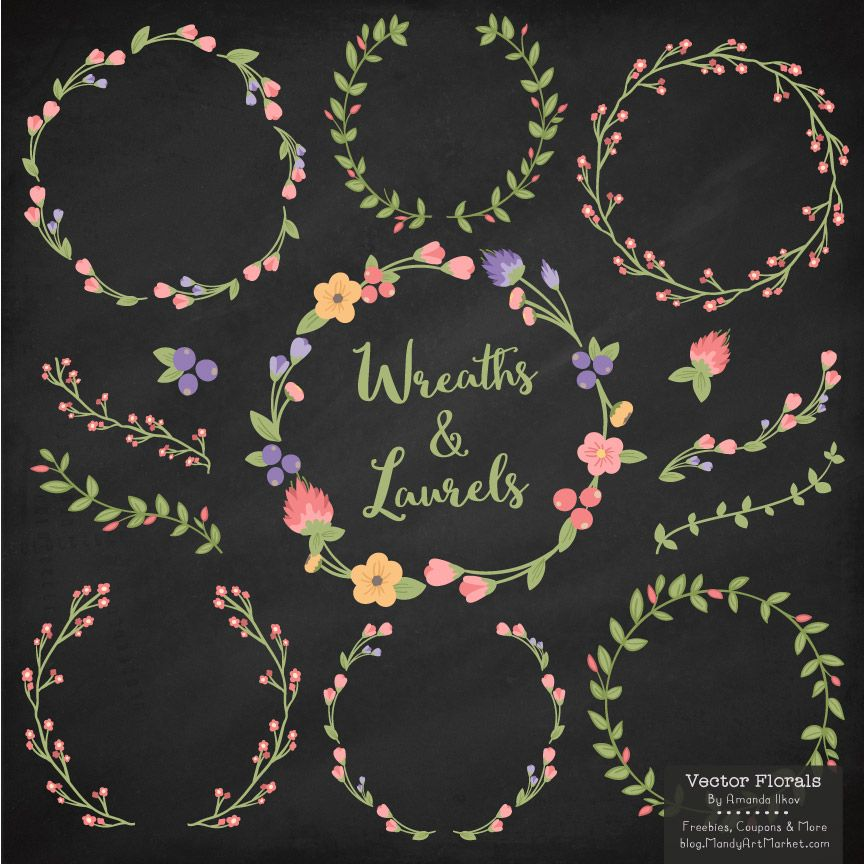 Come grab my August freebie - free floral wreath vectors ...