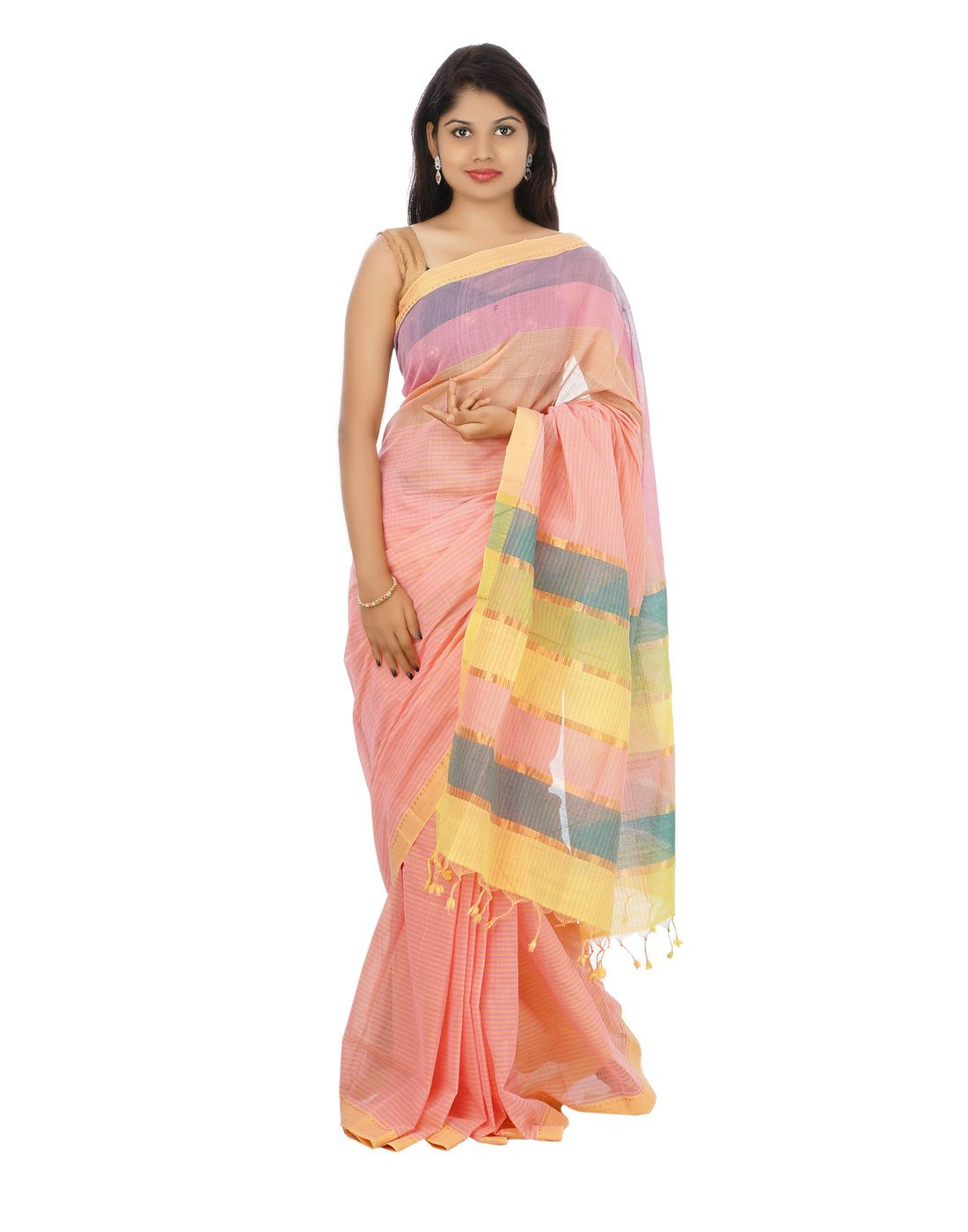 Pure silk saree peach blossom color mangalagiri cotton saree with blouse by