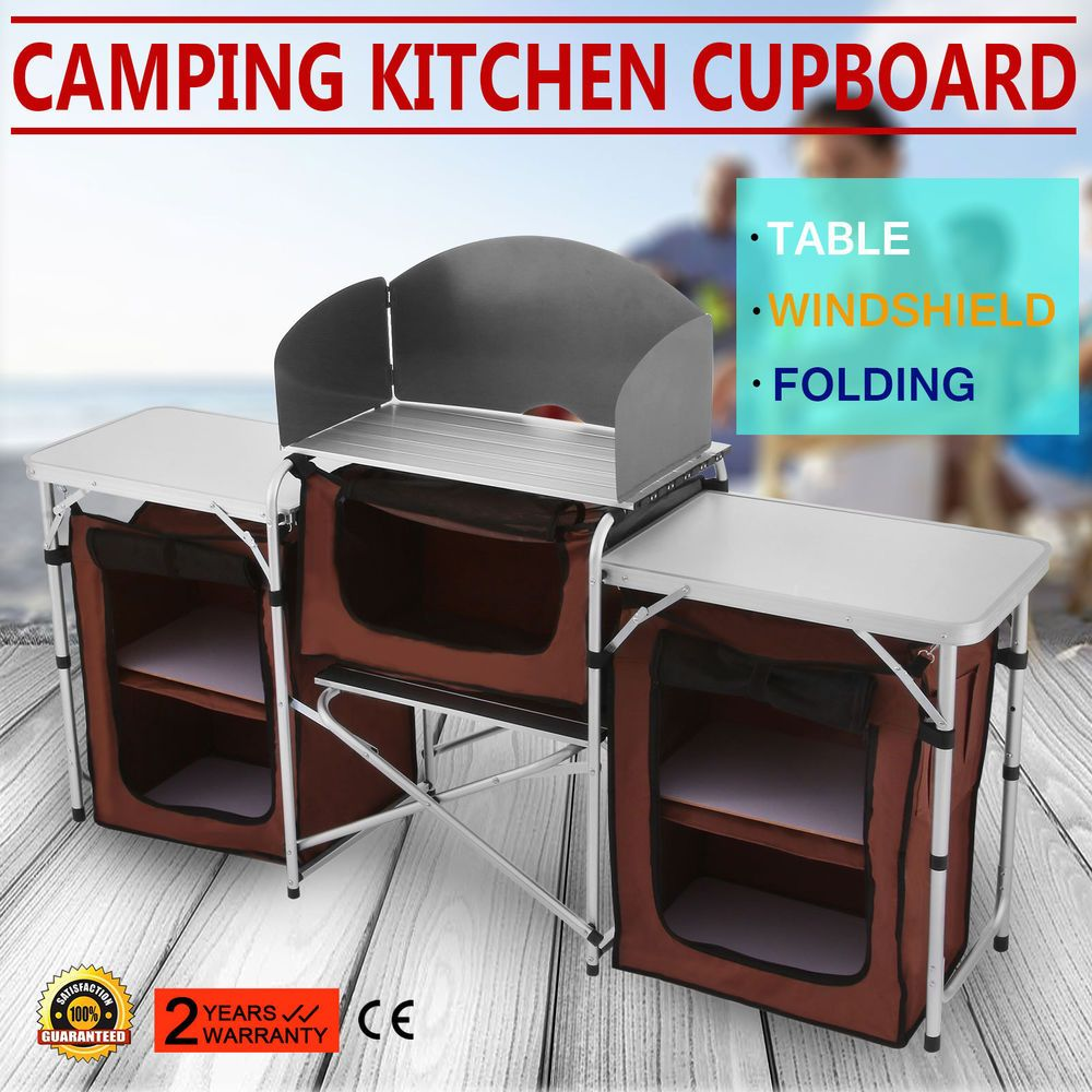 New Folding Camping Kitchen Picnic Table Cupboard