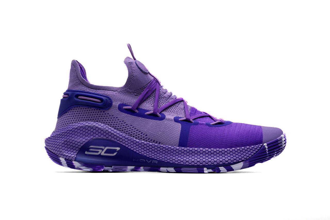 Purple basketball shoes co-designed by