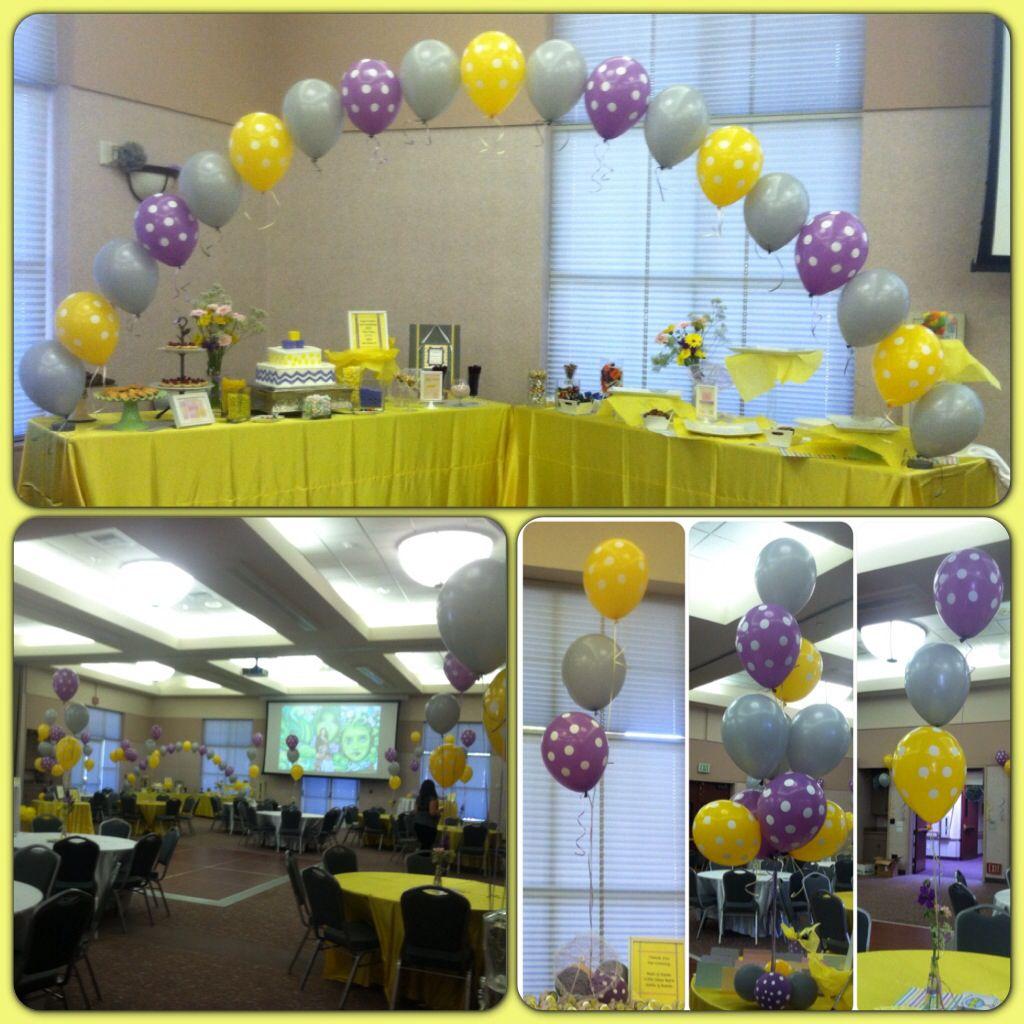 babyshower polkadot theme lavender yellow polkadot wgrey string of pearl arch