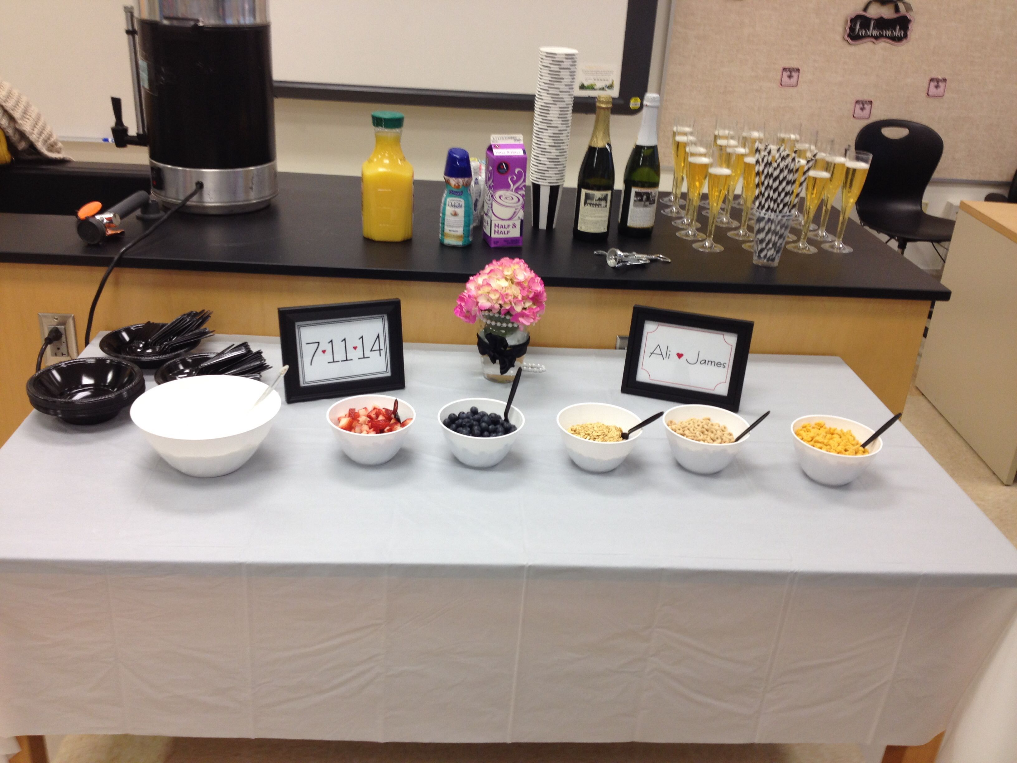work bridal shower black and white chanel theme yogurt bar healthy shower food