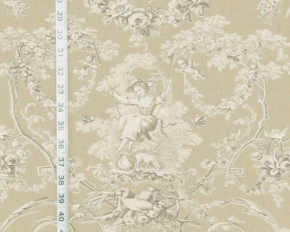 Brown tan toile fabric French country de Jouy neutral