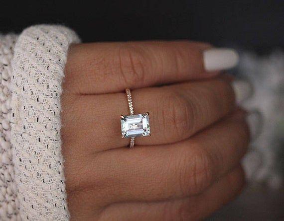 Emerald Cut Aquamarine 9x7mm Solitaire Engagement Ring, Diamond Half Eternity Band, 14k Rose Gold Aquamarine Handmade Ring, Bridal Ring