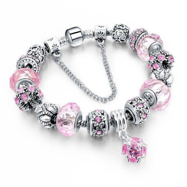 Pink Crystal Charm Bracelet - Bead
