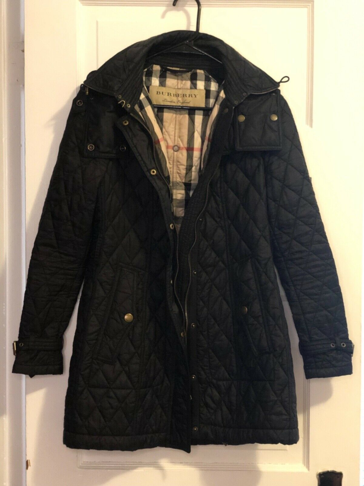 Burberry Brit Finsbridge Long Quilted Coat Jacket Black Size Small Petite Long Quilted Coat Womens Quilted Jacket Black Quilted Jacket