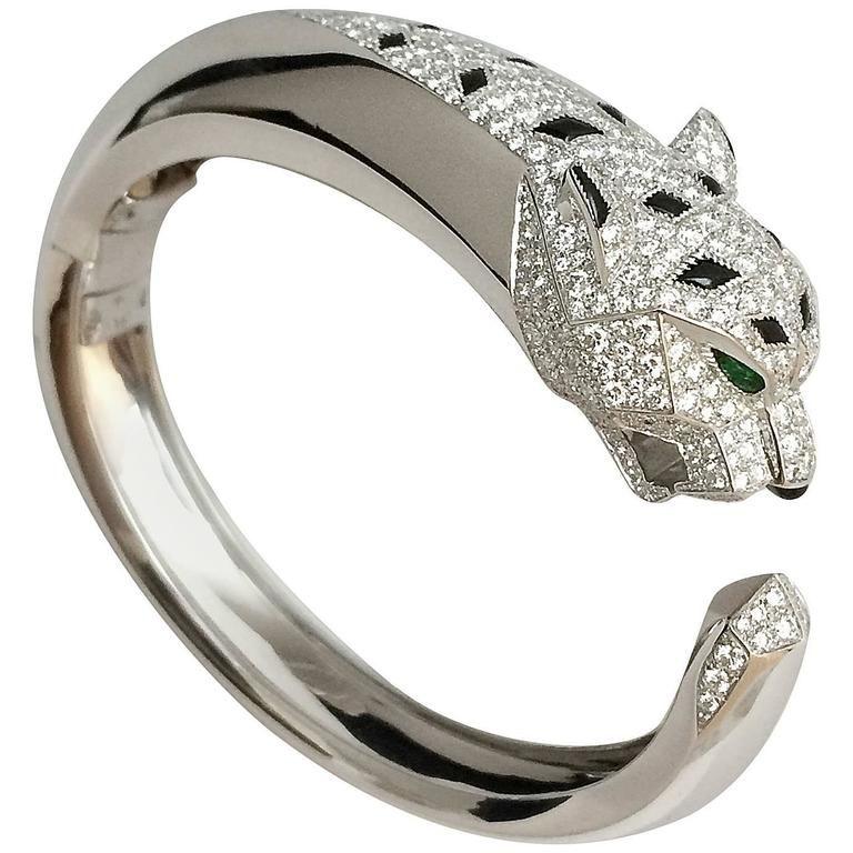 Cartier Diamond Gold Panther Bangle