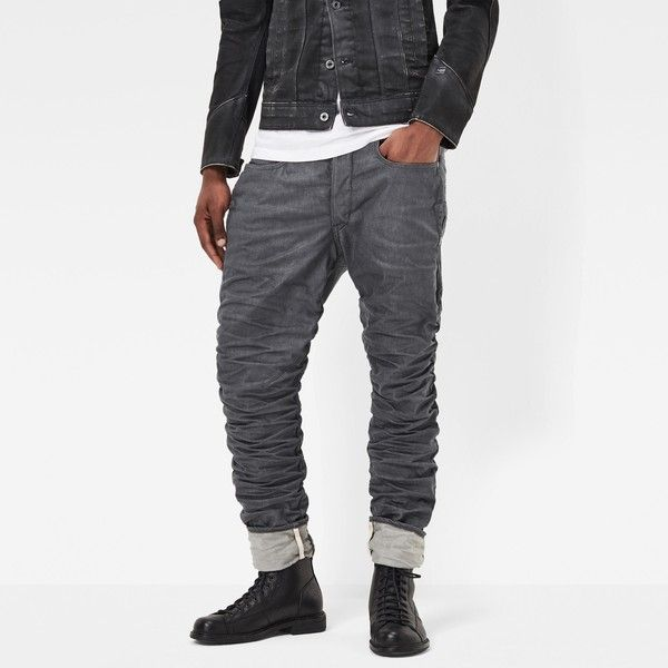 G-Star Raw Staq 3d Tapered Jeans ($250) ❤ liked on Polyvore featuring men's fashion, men's clothing, men's jeans, mens tapered jeans, mens flap pocket jeans, mens denim jeans and mens button fly jeans
