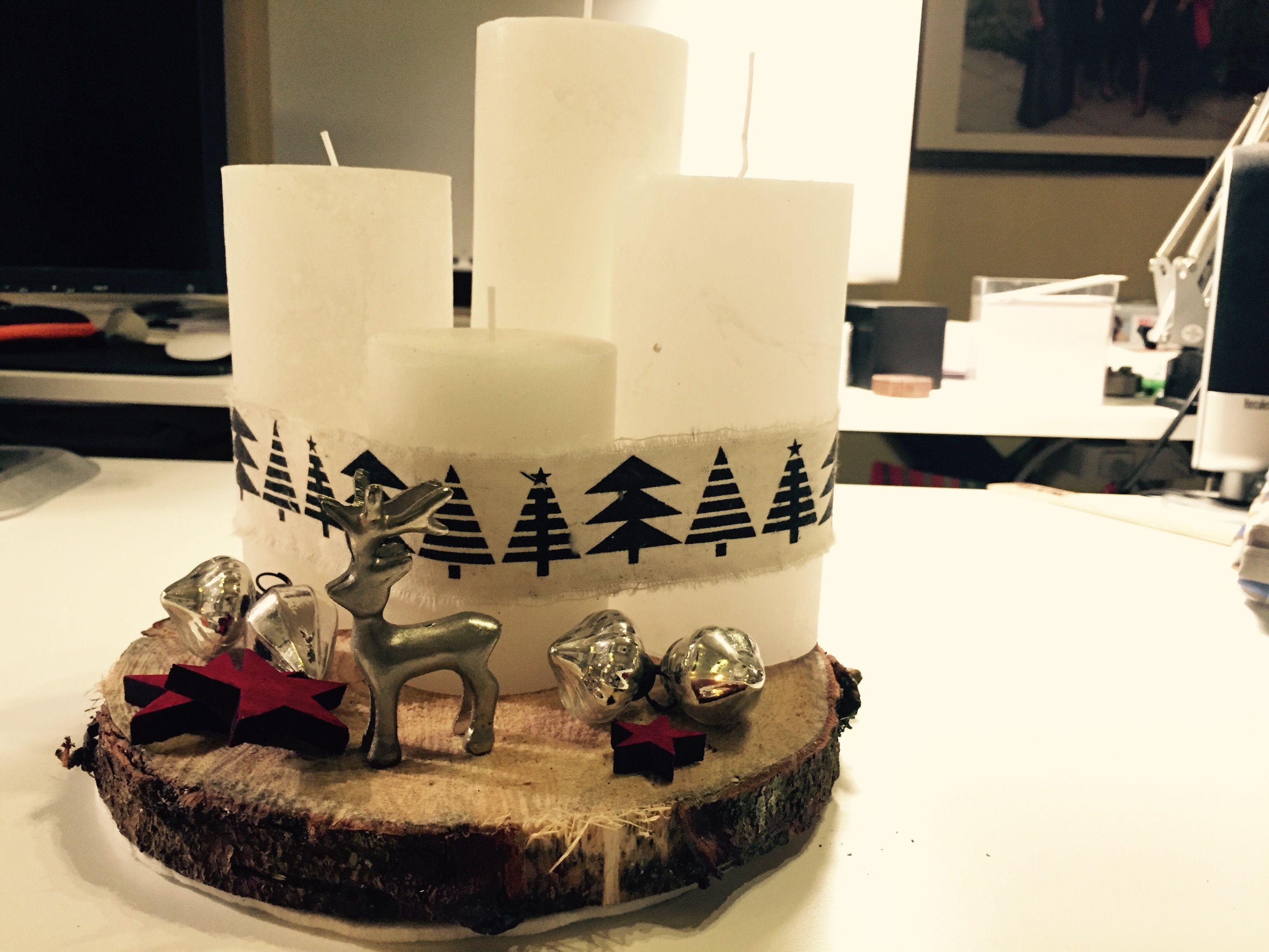 DIY - Adventskranz auf Fichtenholzscheibe mit Deko Kugeln und Sternen