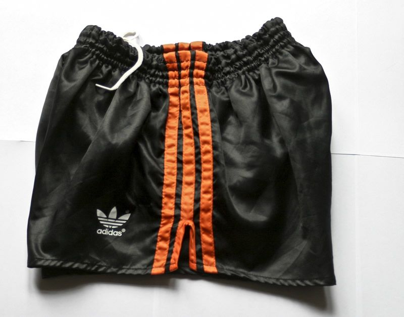 63a46b4076 Adidas Black / Orange Shiny Nylon Glanz Sprinter Shorts. D5, Medium. West  German made. Rare and Vintage Shorts for sale.