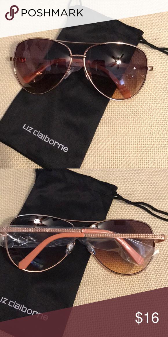 5e2436efd4 Liz Claiborne Rose Gold Sunglasses NWT Liz Claiborne Sloan s Rose Gold  Sunglasses. Aviator style with
