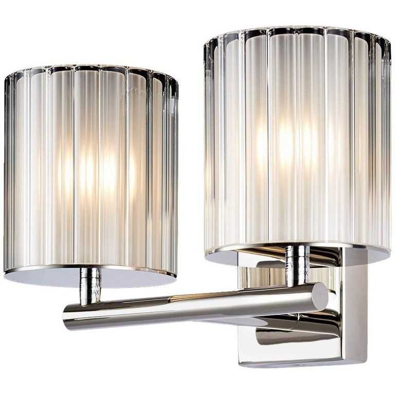 Flute Double Wall Light In Brushed Or Polished Metal With Frosted Glass Double Wall Lights Wall Lights Contemporary Glass Lighting