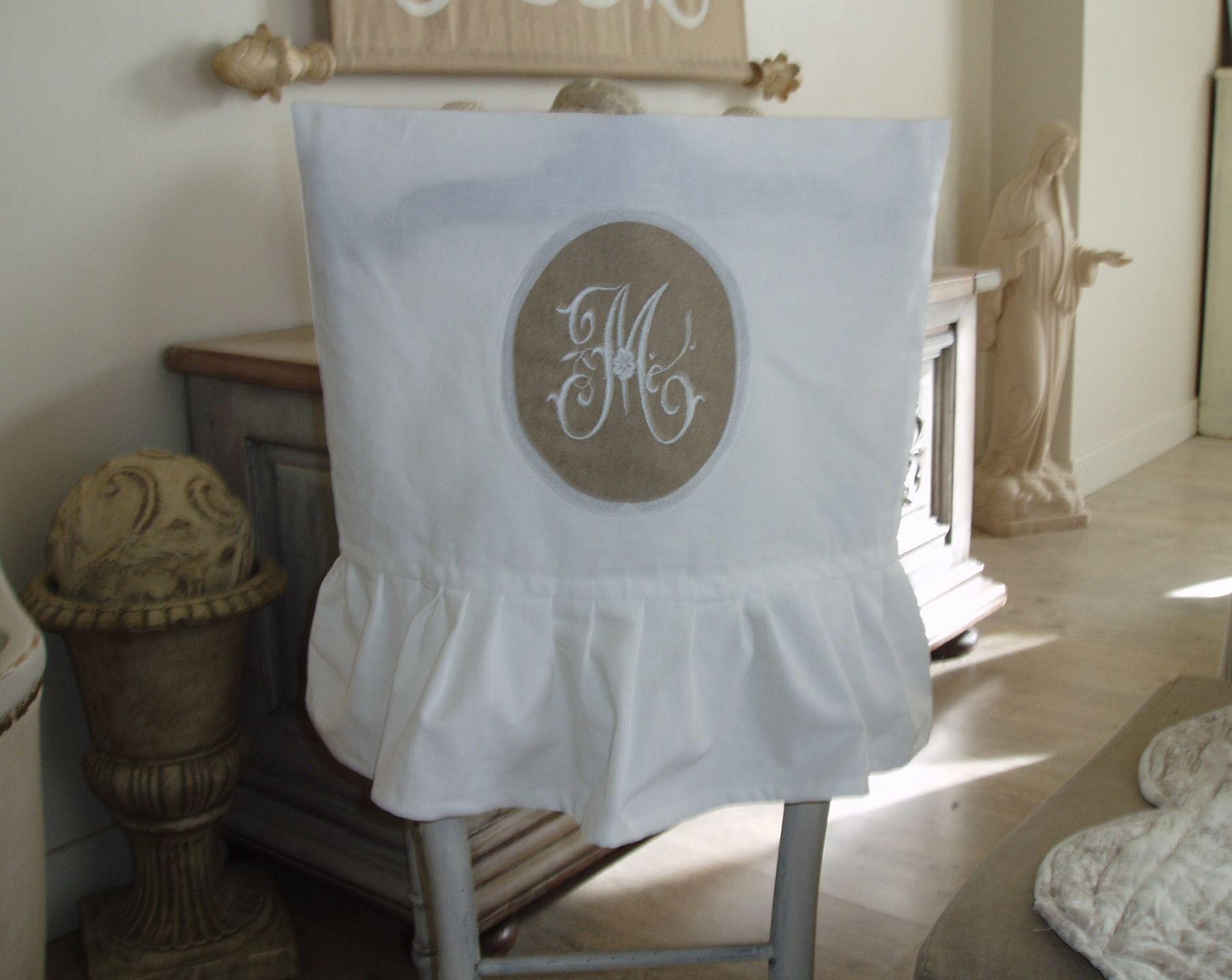 Cover Of Folder Chair Linen White Ruffle And Monogram Medallion