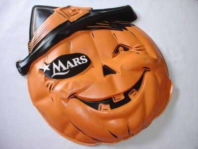 Vintage Dated 1960 Pumpkin Halloween Mars Candy Store Business Advertising Sign