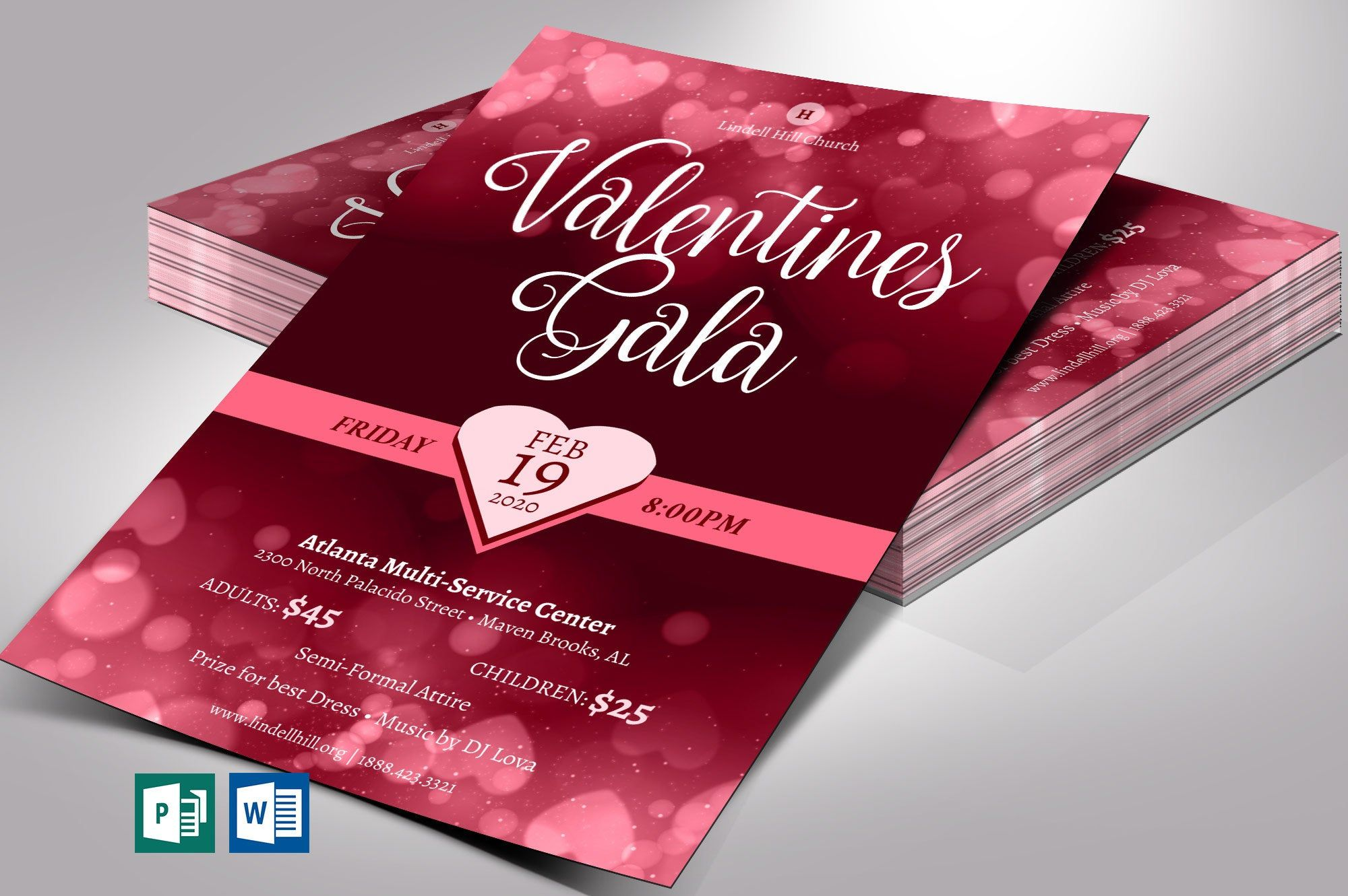 Valentines Gala Flyer Word Publisher Template 1 Sided Size 4 X6 Pinkhearts Noprofitevent Officeparty Galatea In 2020 Publisher Templates Flyer Print Templates