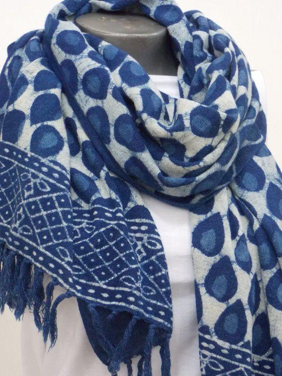 e2d9e589d Scarf, Khadi Cotton, Indian Hand Block Print, Indigo, Dabu, Mud Resist,  Tassels, Fashion Accessories, Gift for her, Gift for him