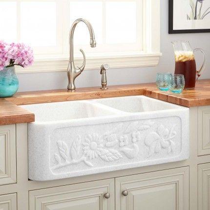 "33"" X 20"" X 10"" Floral Natural Marble Offset Double Bowl Farmhouse Prepossessing 10 X 20 Kitchen Design Design Decoration"