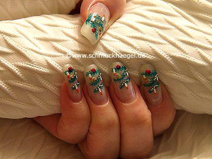 nail art motivo ramas de abeto para navidad decoracin de uas http