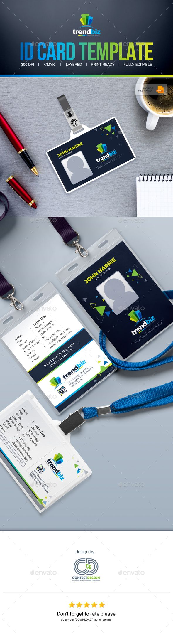 Office Id Card Design  Identity Card  Id Badge  FontsLogos