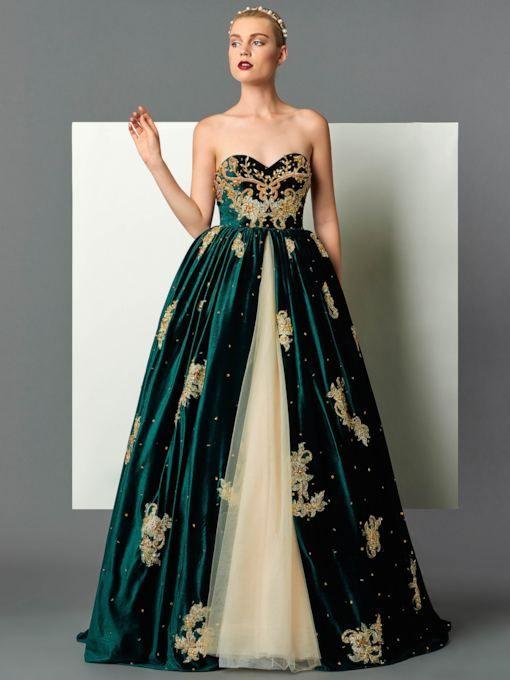 Beaded, Metallic Embroidered Appliqués on Net   Dresses