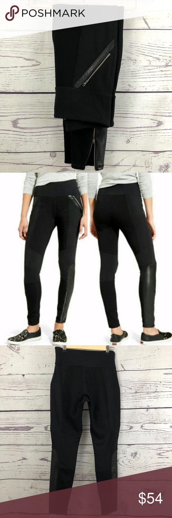 "d6758adf3dff14 ATHLETA Ponte Luxe Moto Faux Leather Leggings Women's M Approximate  Measurements: 27"" Waist Width"