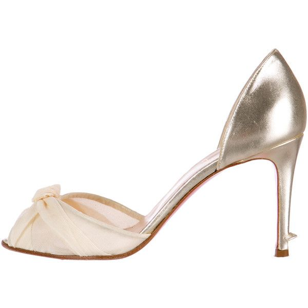 Christian Louboutin Metallic D�Orsay Pumps ($325) ❤ liked on Polyvore featuring shoes, pumps, gold, d'orsay pumps, metallic shoes, beige leather pumps, d'orsay shoes and genuine leather shoes