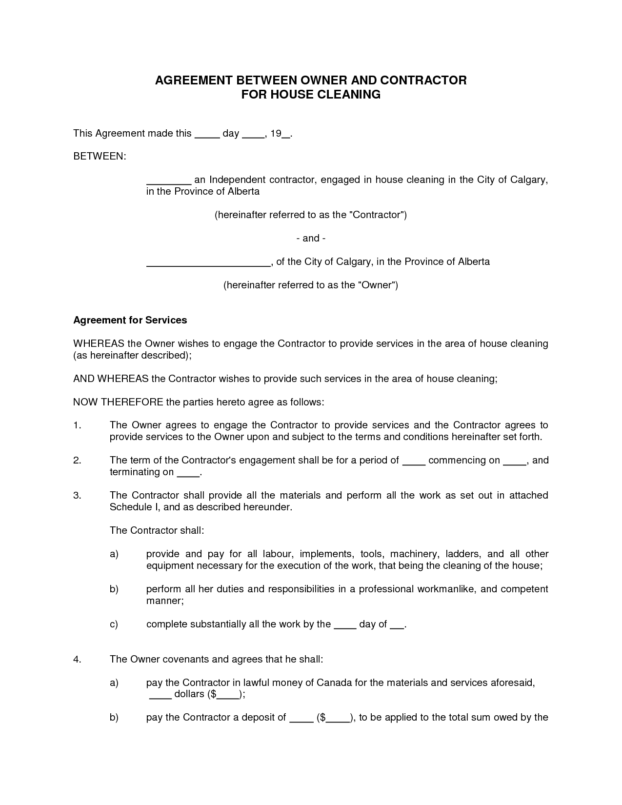 Doc.#585585: Cleaning Service Contract – Cleaning Contract ...