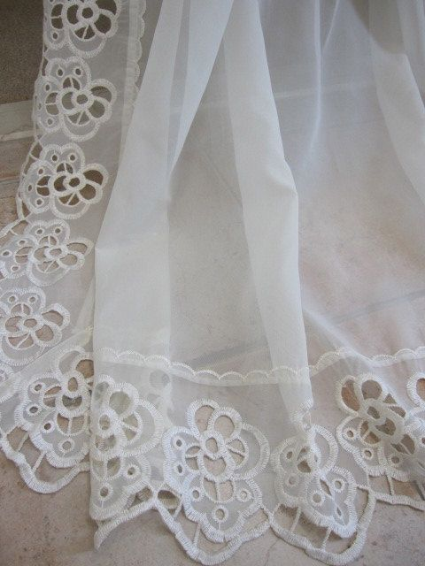 REDUCEDVintage Lace Curtain Sheer Macrame Lace By TheCottageWay, $25.00