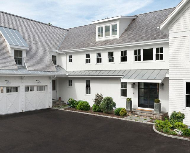 House exterior details grey and white house exteriors for Modern farmhouse garage doors