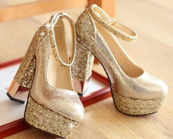 Fashion High Heeled Shoes Thick Heel Platform Champagne Color Wedding Shoes  Bridal Shoes Gold Formal