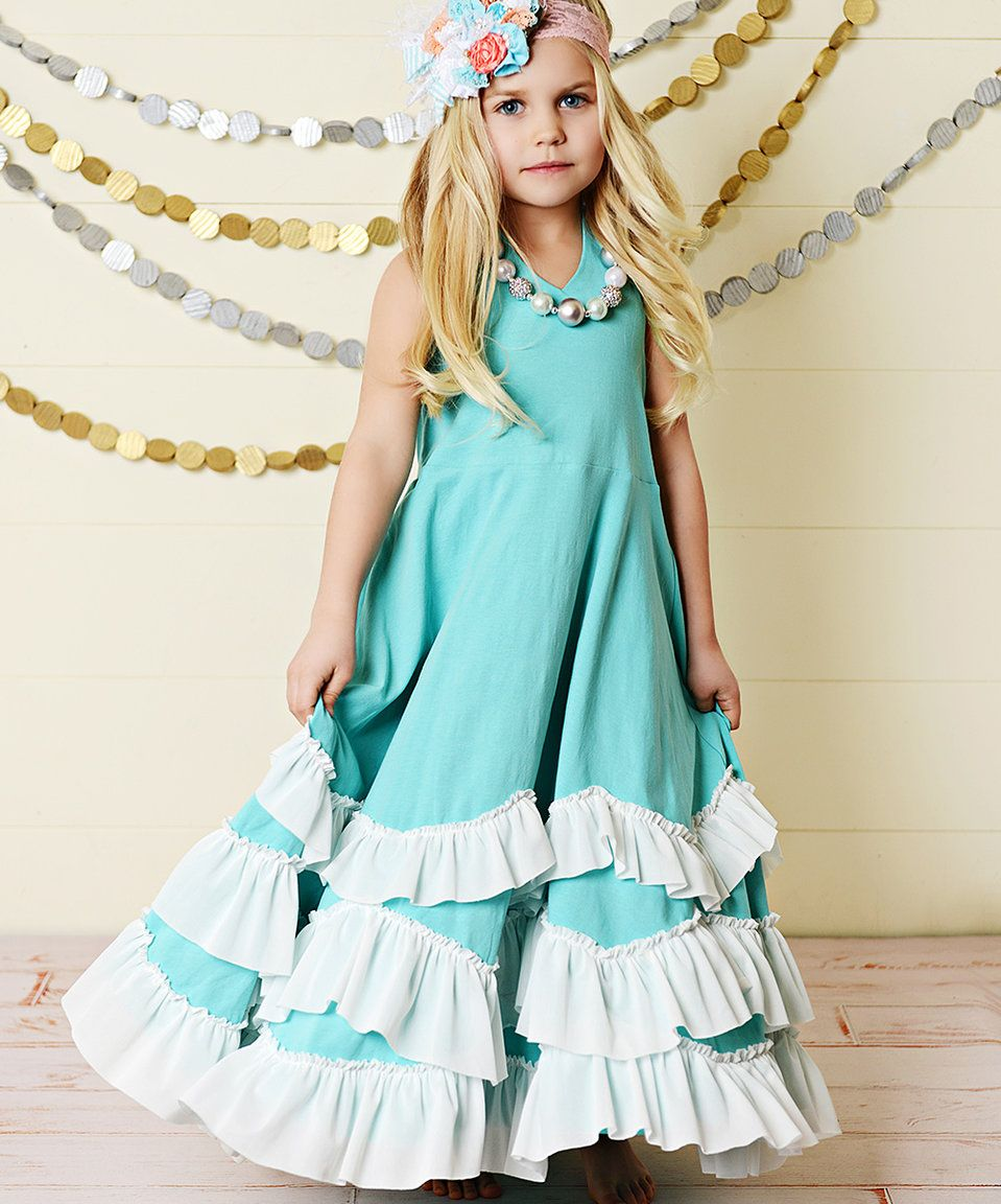 Loving this Oopsie Daisy Teal & White Ruffle Tiered Maxi-Dress - Toddler & Girls on #zulily! #zulilyfinds