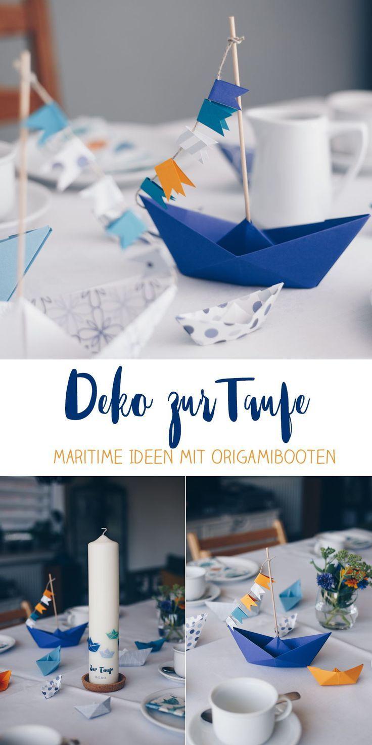 DIY Tischdeko zur Taufe mit Booten - Origamiboote mit Fähnchen  selbermachen - Schritt für Schritt Faltanleitung - Tauffeier Ideen  #taufe #taufdeko #tischdeko