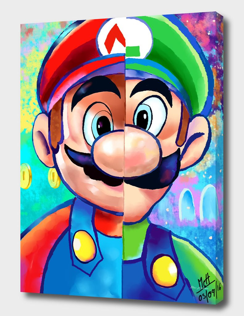 Super Mario And Luigi Canvas Print By Awesomeexpress Exclusive Edition From 59 Curioos In 2020 Super Mario Art Super Mario And Luigi Mario Art