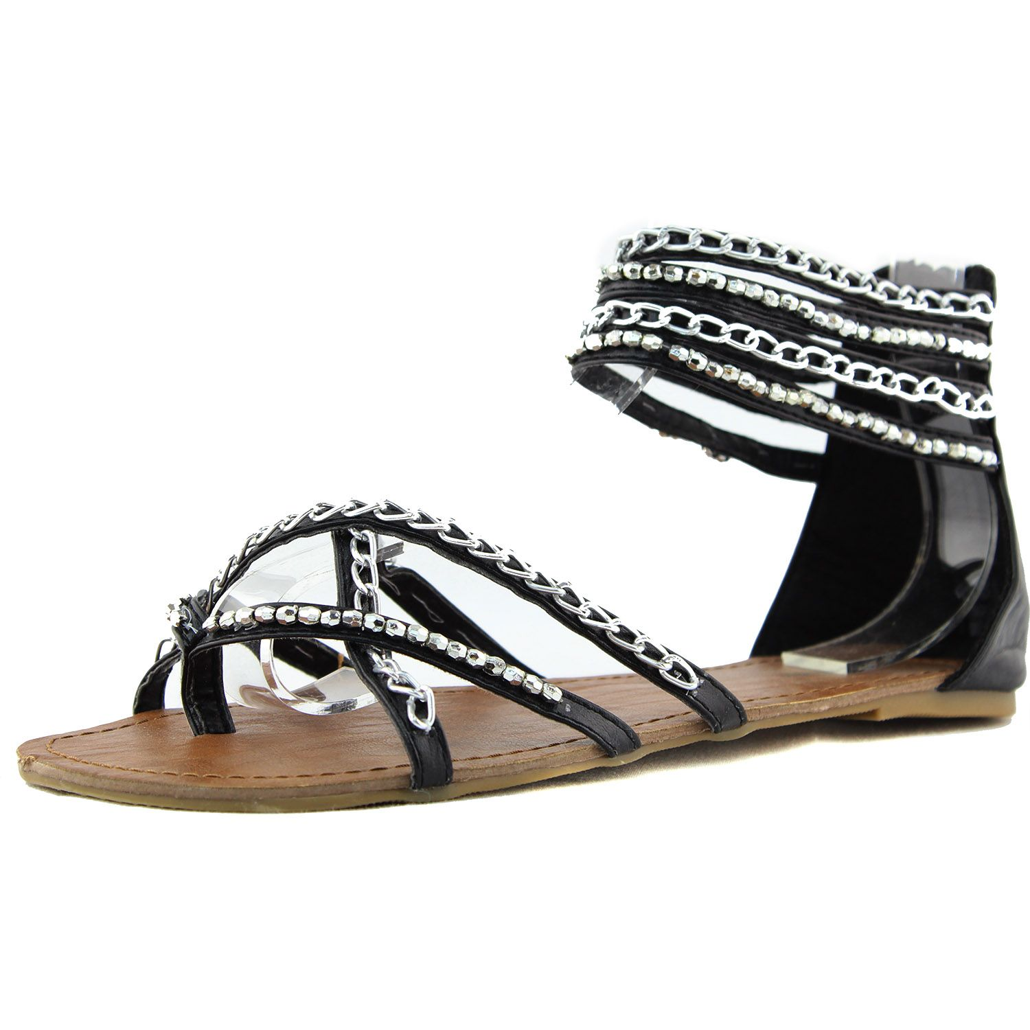 Save 10% + Free Shipping Offer *   Coupon Code: Pinterest10 Material: Man Made Material True to size Gladiator Flats Brand: Top Moda Product Code: Bean-25 Black Color Women's Top Moda Bean-25 Black Color Strappy Gladiator Flats