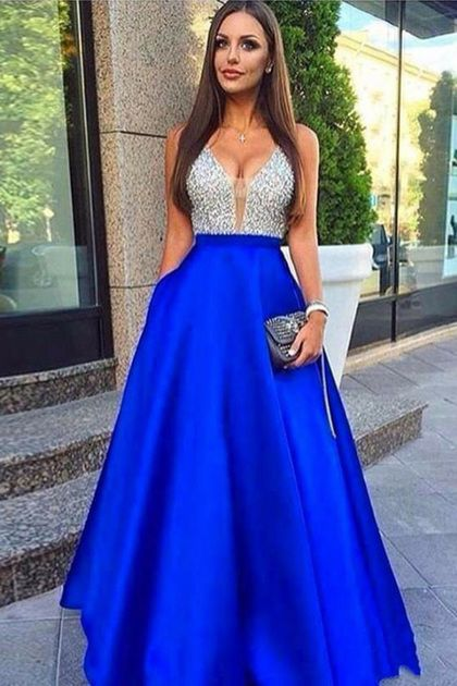 Brillante con cuello en v plateado y azul real Vestidos de fiesta largos en línea Vestidos de fiesta US$ 169.00 VTOPDRXTT1D