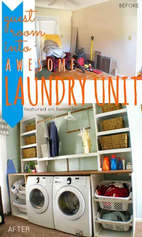 Guest Room Into Built In Laundry Unit Seesaws And Sawhorses On Remodelaholic Laundryroom Diy Organization