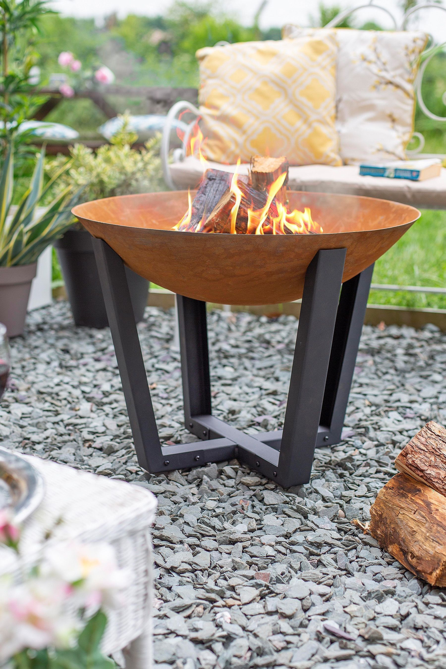 Icarus Fire Pit By La Hacienda Steel Fire Pit Fire Pit Outdoor Heating