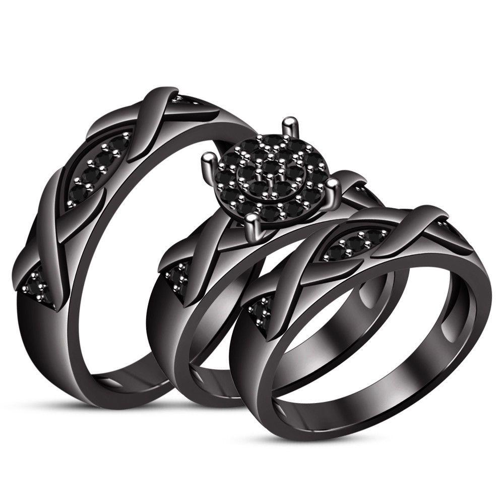 14k black gold over diamond wedding set bridal engagement