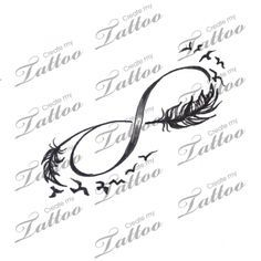 Infinity with feathers and birds tattoo design | tatoo ...