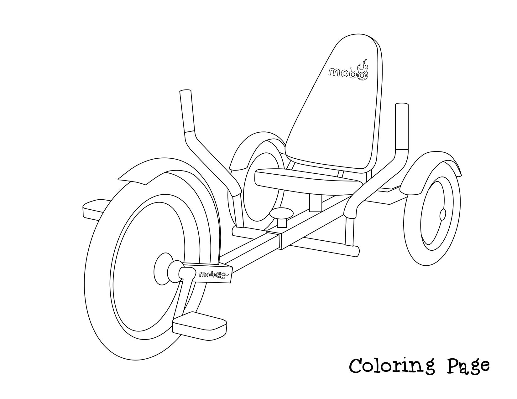 Tricycle Coloring Book Page For Boredom Therapy Design Your Own