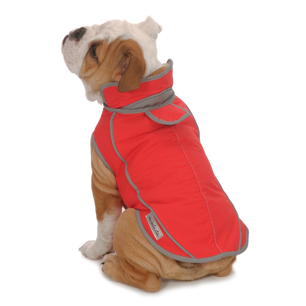 A Cute Red Coat For A English Bulldog The Precision Fit Sport Parka From My Canine Kids Allows For The Ultimate Dog Coats Warm Dog Coats Waterproof Dog Coats [ 1000 x 1000 Pixel ]