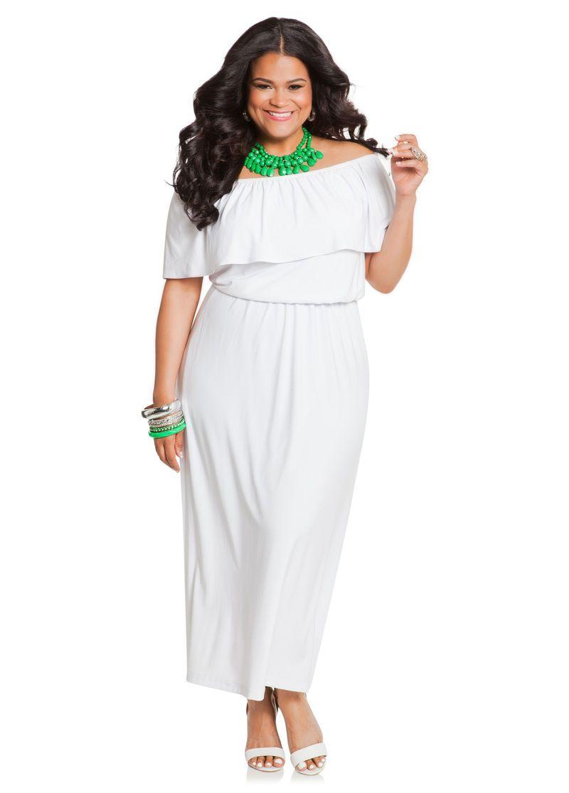 Ruffle Top Off The Shoulder Maxi Dress Ashley Stewart Shoulder Maxi Dress Plus Size Outfits Curvy Girl Fashion [ 1115 x 800 Pixel ]