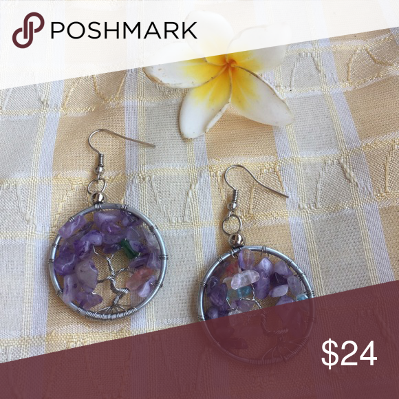 SALE! Tree of life amethyst chip earrings New for our tree of life collection! Handmade in bali wire wrapped tree of life earrings features unique rock chip details for a gorgeous new look! These make wonderful gifts. Happy shopping! handmade Jewelry Earrings