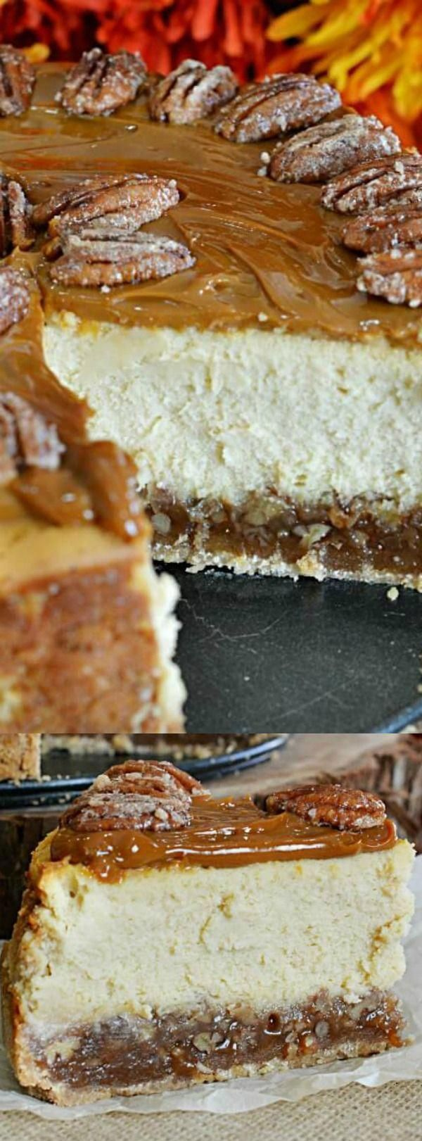 This Pecan Pie Cheesecake recipe from Lady Behind the Curtain is going to become your new favorite fall dessert! It combines two of your all time favorite fall flavors — pecan pie and cheesecake to create the ultimate dessert recipe! #cheesecakerecipes #pecanpiecheesecakerecipe