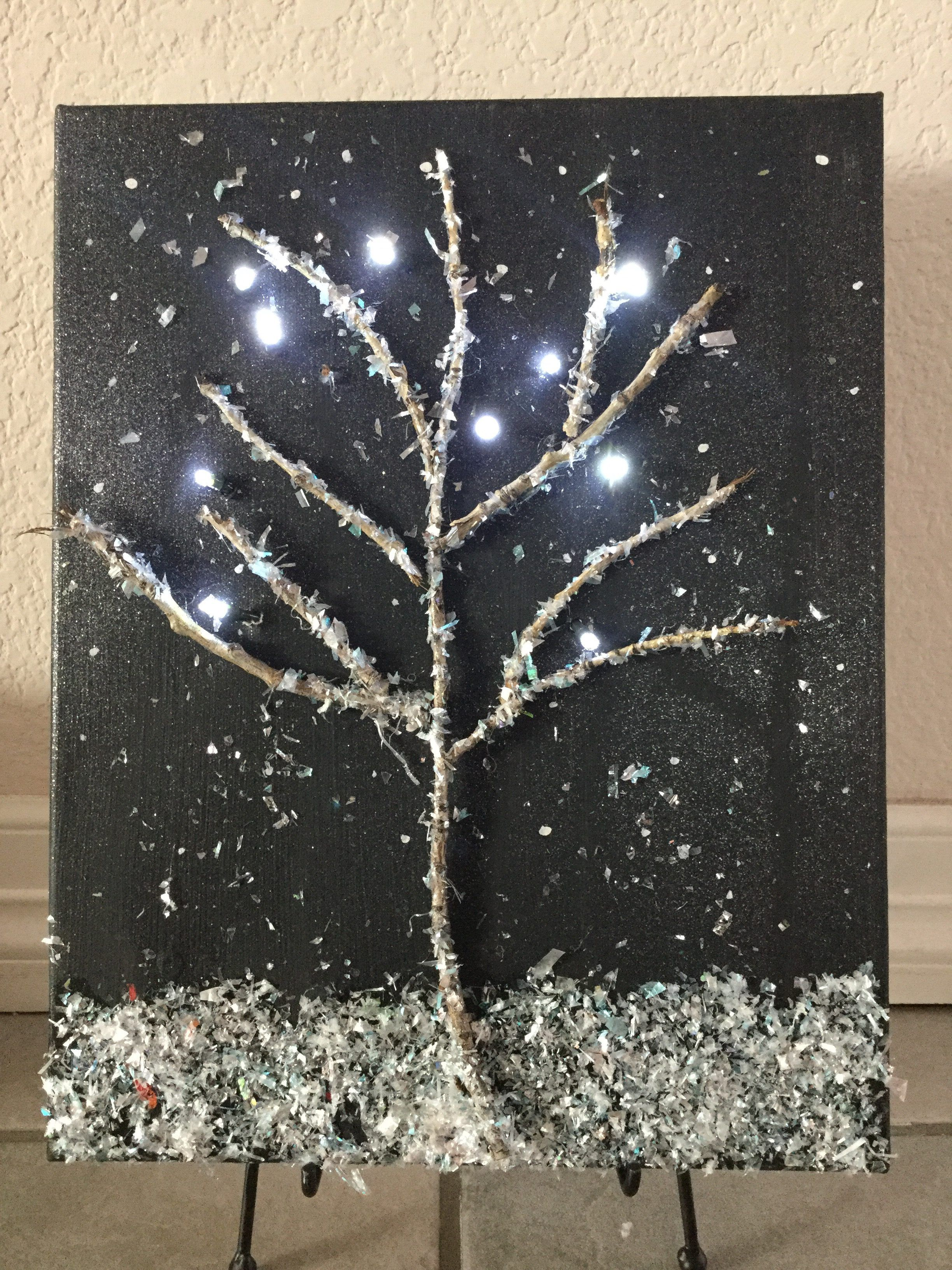 Winter Light Up Canvas Art Light Up Canvas Winter Wall Art Lighted Canvas Art