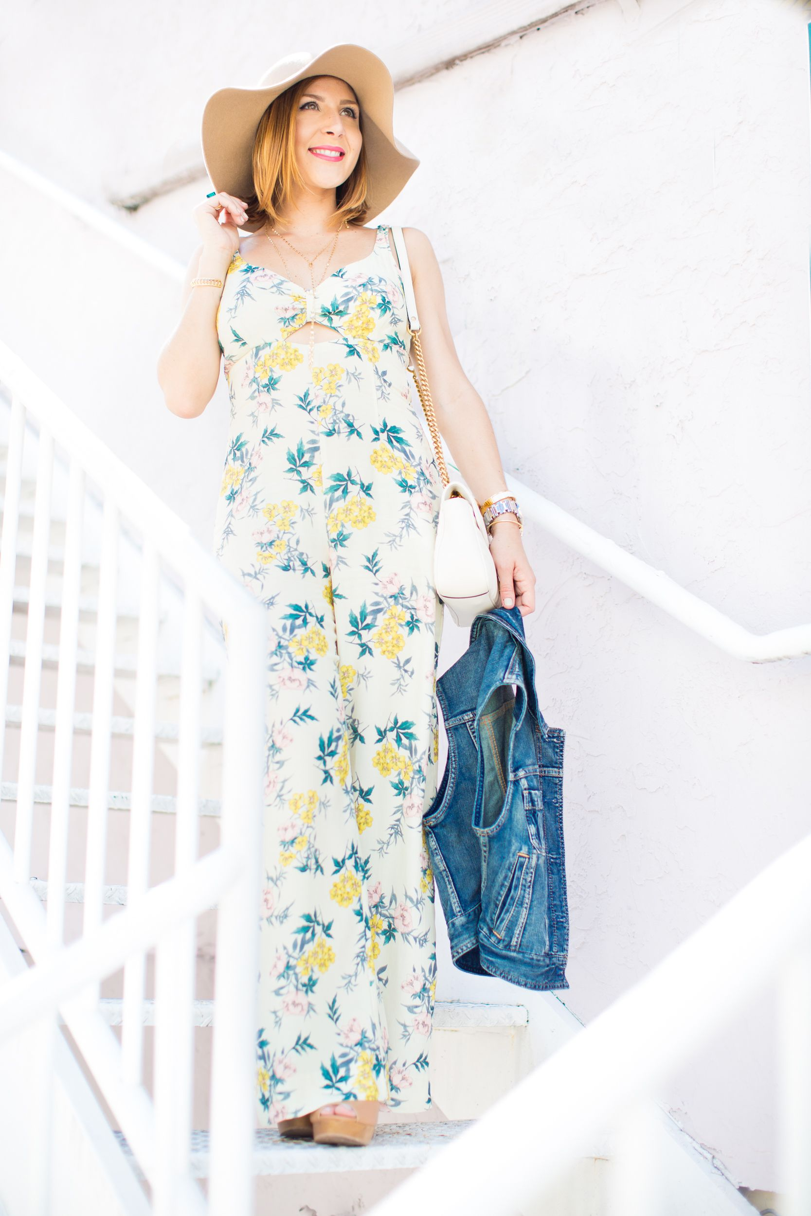 8403b31cbda Blame it on Mei Miami Fashion Blogger 2016 Floral Jumpsuit Sleeveless Denim  Vest Floppy Hat Festival Inspo Summer Look Casual Look Summer Outft Casual  Look ...