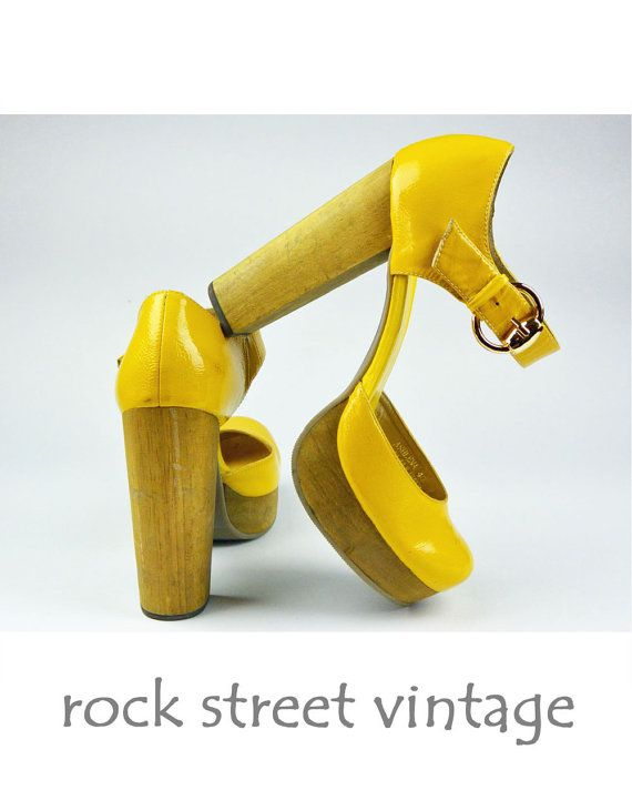 Vintage Yellow Leather and Wood Platform Shoes Chunky Wood Heels Gold Buckle Club Kid Shoes Womens Size US 9 EU 40